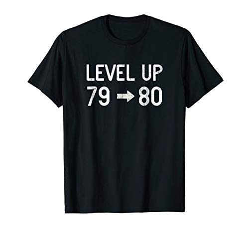 Funny Level Up Eighty Birthday T-Shirt 80th Retro Gamer Gift