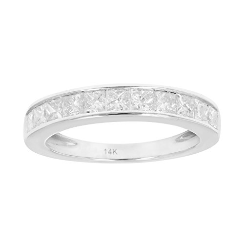 1 CT Certified Princess Diamond Wedding Band 14K White Gold Size 8
