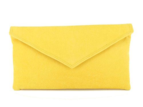 Loni Womens Neat Envelope Faux Suede Clutch Bag/Shoulder Bag in Yellow by LONI