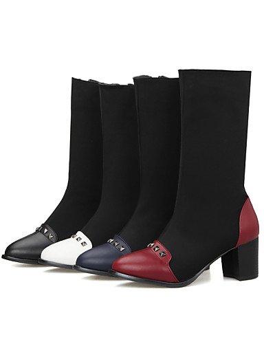 Eu39 Red Xzz us6 Tacón Vestido Moda negro Black Mujer Rojo Cn39 Semicuero Robusto Eu36 La Zapatos Uk4 A Azul Nailon Puntiagudos De Cn36 Botas us8 Casual Uk6 AwTqHrA