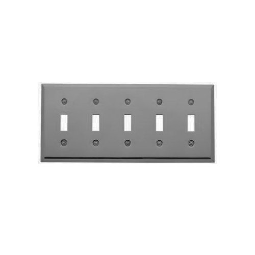 Baldwin 4775.150.CD Classic Square Beveled Edge 5 Gang Toggle Switch Plate, Satin Nickel