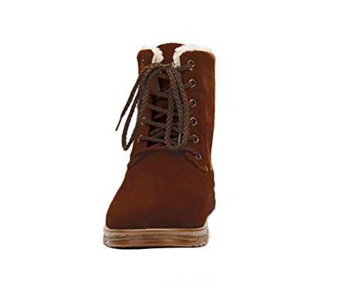 Men winter boots Snow Boots Lace Up Ankle Sneakers High Top Winter Shoes with Fur Lining Chukka Boot Brown ZixO093D