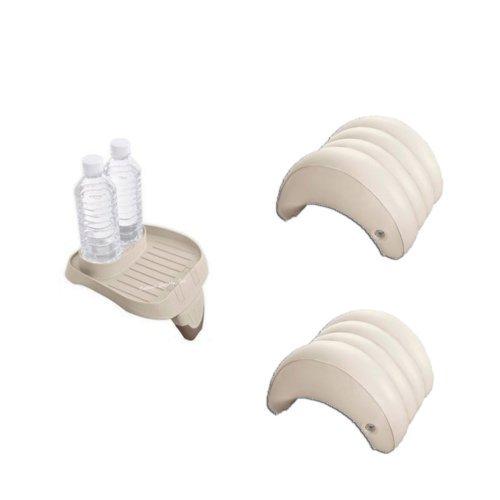 Intex PureSpa Bundle - 3 Items: 1 Cup Holder Tray, 2 Spa Hea