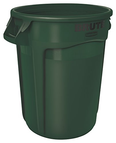 Rubbermaid Commercial BRUTE Trash Can, 10 Gallon, Green, (Round Low Lid)