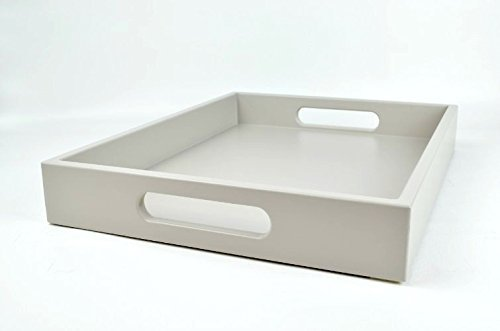 Large Wood Ottoman Tray with Handles Taupe Lacquer