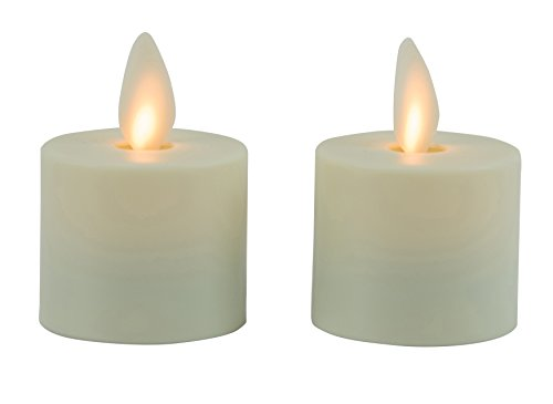 """Mystique Flameless Candle, Ivory 1.5"""" Tea Lights, Set of 2, Plastic Candle With Realistic Flickering Wick, Battery Operated, By Boston Warehouse"""