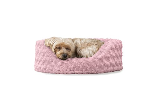 FurHaven NAP Ultra Plush Oval Lounger Pet Bed for Dogs and Cats, Pink, Small
