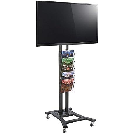 Rolling TV Stand Holds HDTV 32 To 65 5 Pocket Mesh Literature Rack Black Steel