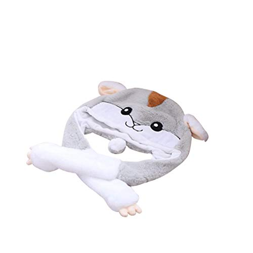 FENICAL Cute Hamster Hat Pop Up Ears Cartoon Animal Cap Soft Plush Toy for Children Adults -