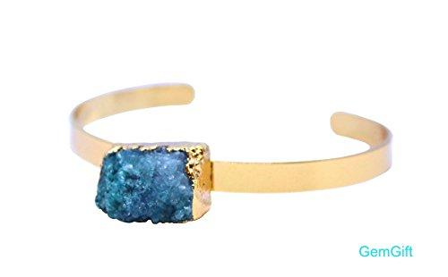 GemGift Natural Druzy bangle bracelet - Amethyst bangle bracelet - Crystal Bar bracelet - Birthday gift (Short 4) by GemGift