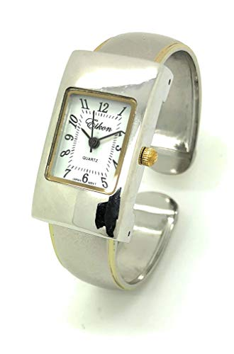 Ladies Small Rectangle Case Metal Bangle Cuff Watch White Dial Eikon (Two Tone)