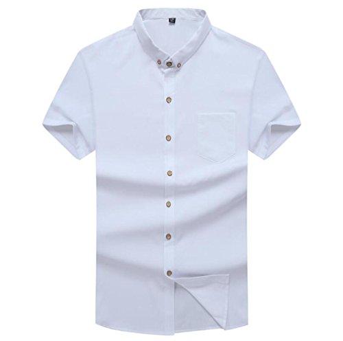 Para Hombres De Camisa Media Y Verano Suelta Corta Cómoda Blanco Casual Manga tTB6qwT