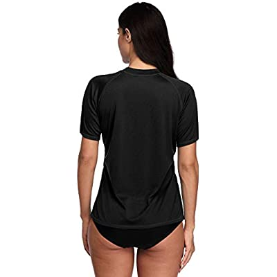 ATTRACO Women's UPF 50+ Short Sleeved Active Rashguard Solid Workout Top Sports Swim Tee at Women's Clothing store