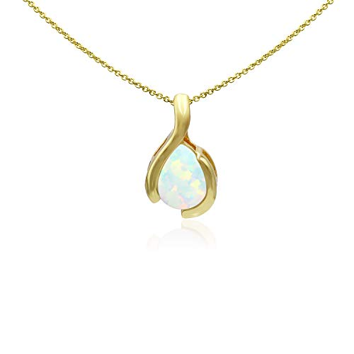 Sea of Ice Yellow Gold Flashed Sterling Silver 9x7mm Pear Shape Synthetic Opal Pendant Necklace for Woman, 18 Inch ()