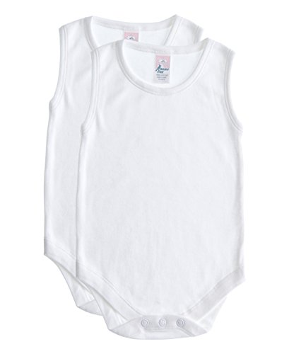 Soft Cotton Sleeveless Onesie Bodysuit, WSNR 12-18 2-Pack (Cotton Lightweight Bodysuit)