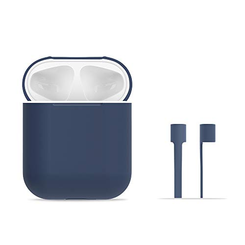 AirPods Case Protective, FRTMA AirPods Silicone Skin Case with Sport Strap for Apple AirPods (Midnight Blue)