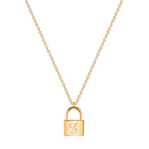 Mevecco Gold Dainty Initial Necklace lock necklace 18K Gold Plated Padlock Necklace Letter Necklaces for Women Minimalist Personalized Jewelry