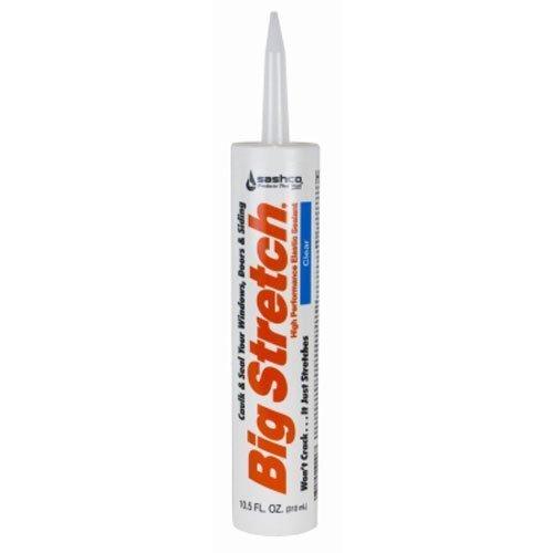 Sashco Big Stretch Acrylic Latex High Performance Caulking Sealant, 10.5 Ounce Cartridge, Clear (Pack of 12)