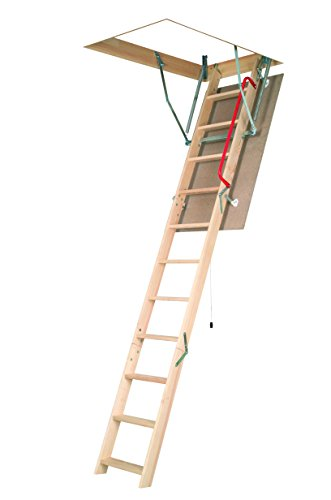 FAKRO LWN-P 25inx47in Wooden Basic Non-Insulated Attic Ladder 250lbs 8ft 11in by FAKRO