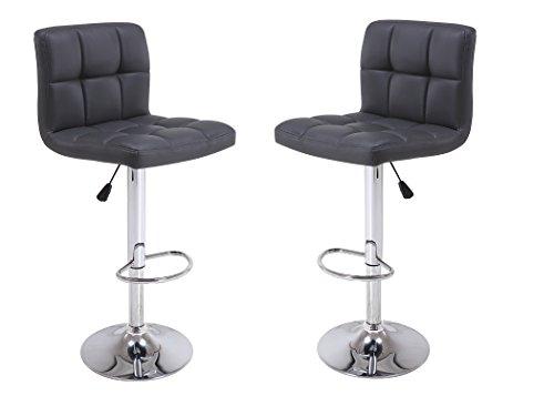 Vogue Furniture Direct VF1581047-2 Direct Adjustable Height Swivel Barstools with Footrest Set of 2 Black