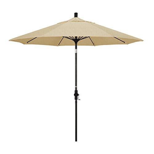 California Umbrella 9' Round Aluminum Pole Fiberglass Rib Market Umbrella, Crank Lift, Collar Tilt, Black Pole, Sunbrella Champagne