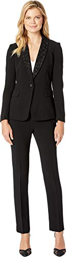 Tahari by ASL Women's Embellished Shawl Collar One-Button Flap Pocket Pants Suit Black 12