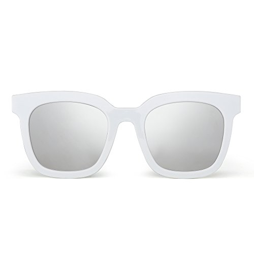 (Oversized Flat Mirrored Sunglasses Designer Square Tinted Eyeglasses Women (White/Mirror Silver))