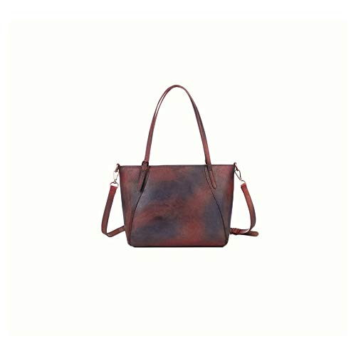 Douhuayu Womens New Retro Color Handmade Leather Shoulder Simple Casual Shopping Bag Color : Retro Color, Size : 301225cm