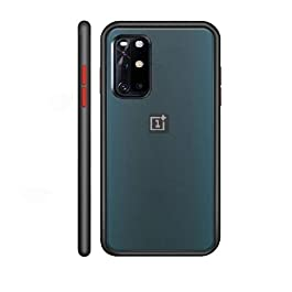 AE Mobile Accessories Back Cover for OnePlus 8T 5G Froasted Smoke Hard Matte Finish with Soft Side Frame Fit Protective Back Case Cover (Black)