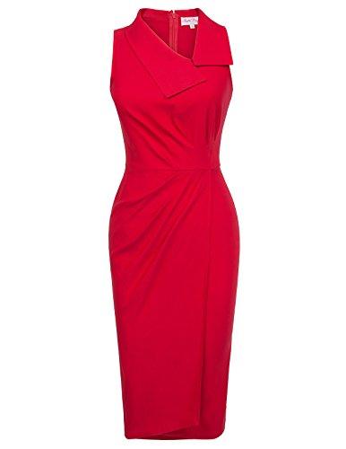Belle Poque Retro Dress Vintage Fitness Pencil Dress Expire Waist for Women Red Size S BP414-2