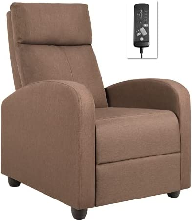 Flamaker Massage Recliner Chair Fabric Adjustable Home Theater Single Recliner Sofa Furniture