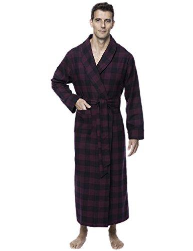 Men's Premium Flannel Long Robe - Gingham Fig/Black - ()