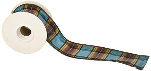 Homeford FRR092941W91340F Elizabeth Plaid Wired Dupioni Ribbon, 2-1/2
