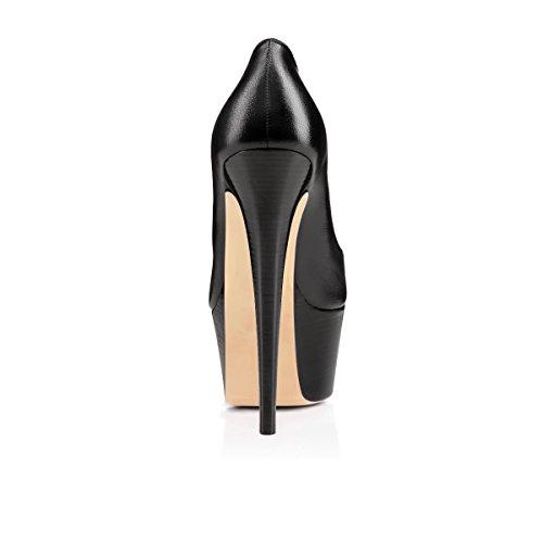 Noir Chaussures Bout Talon Aiguille Semelle Escarpins Fermé 5 Femmes Compensée 15cm Talons mat Rond Cm Elashe Plateformes Rg16xZqnzw