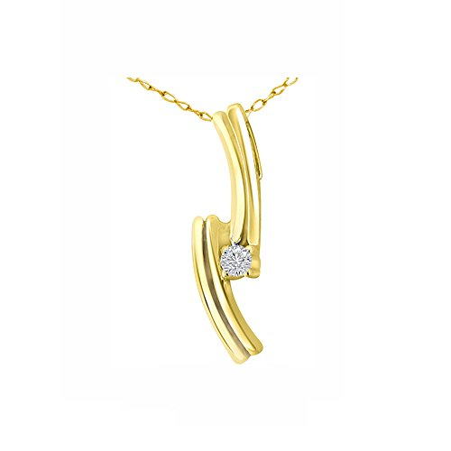 Or Jaune 9 ct Pendentifs Diamant , 0.04 Ct Diamant, GH-SI, 0.81 grammes.