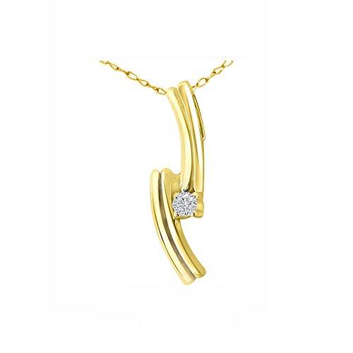 Or Jaune 9 ct Pendentifs Diamant , 0.04 Ct Diamant, GH-SI, 0.81 grammes.