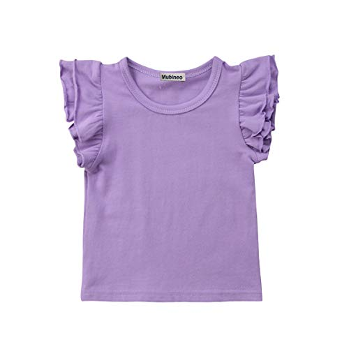 (Toddler Baby Girl Basic Plain Ruffle Sleeve Cotton T Shirts Tops Tee Clothes (Purple,)