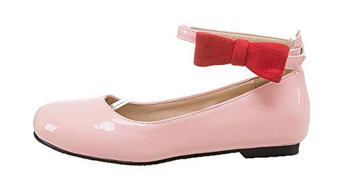Amoonyfashion Womens Spenne Ingen Hæl Patent Lær Solide Pumper-sko Rosa