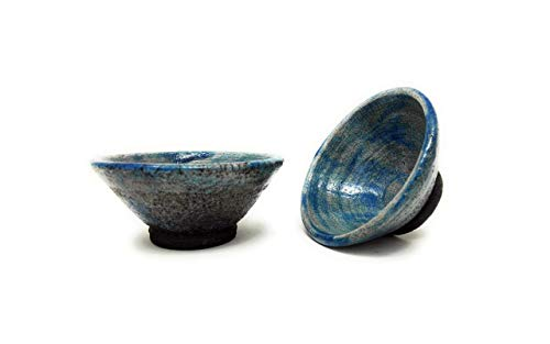 Set of 2 Tea Bowls Japanese Ceramics Raku White 4
