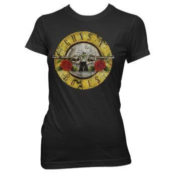 (Bravado  Guns N Roses Distressed Bullet Juniors Shirt, Black , X-Large )