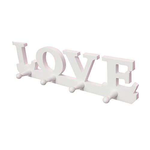 Kaimao Vintage Wooden Wall Hooks Decorative Lovely White Hanging Rack for Coat, Hat, Clothes and Accessories ()