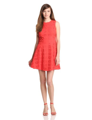 Cynthia Steffe Women's Hailey Floral Eyelet Fit and Flare Dress, Coral Rose, - Cynthia Eyelet Steffe