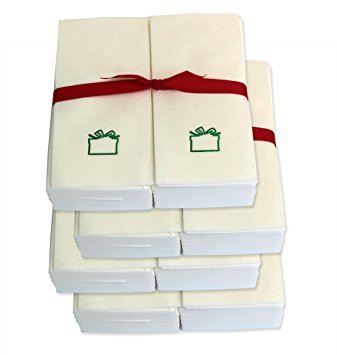 Disposable Guest Hand Towels with Ribbon - Embossed with a Green Gift - 250ct