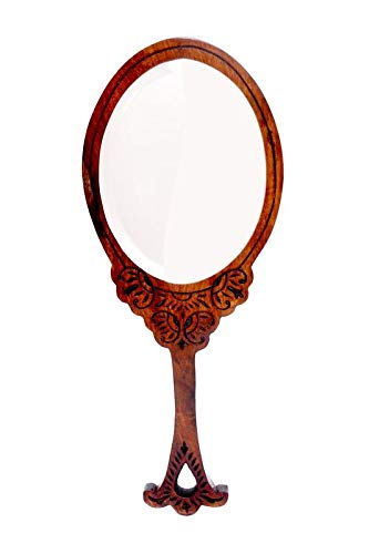 Hashcart Beautifully Handcarved Sheesham Wood Hand-Held Mirror for your Dressing Table//Make-Up kit//Hand Bag//Beauty Accessories Brown