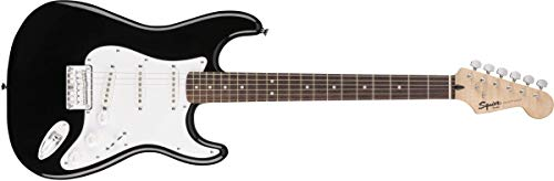 Squier by Fender Bullet Stratocaster Beginner Hard Tail Electric Guitar – Black