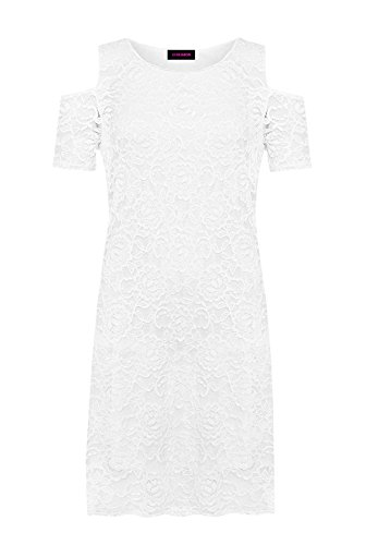 Short Womens Cut Lace Sleeves Ladies Shoulder Cold Shirt Lined Floral Dress Out Y6fq7YW
