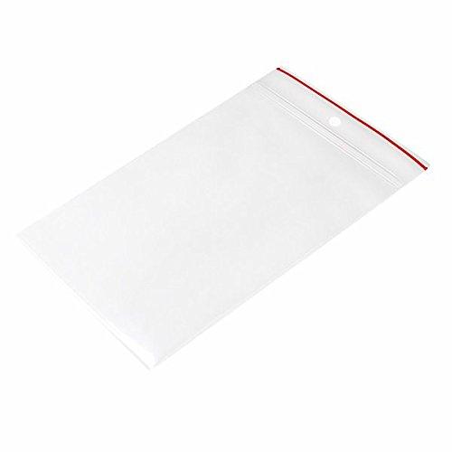 (Minigrip Red Line MGRL4PH0305 Polyethylene (LDPE/LLDPE Blend) Clear Reclosable Bag, Hang Hole, 5