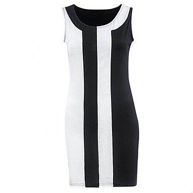 PU&PU Robe Aux femmes Gaine simple / Chic de Rue,Rayé Col Arrondi Au dessus du genou Polyester , black , 2xl