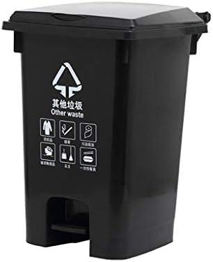 滑らかな表面 プラスチックビン、遊び場シアターザ・モール分類ゴミ箱肥厚大容量ゴミ箱を拒否 リサイクル可能なデザイン (Color : Black, Size : 61*38*45CM)