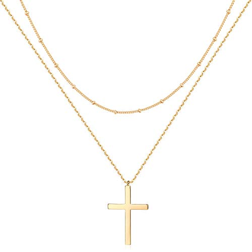 Mevecco Gold Layered Cross Necklace for Women,14K Gold Plated Cute Faith/Jesus Charm Satellite Bead Chain Necklace for Teen Girls